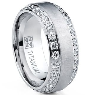 Titanium CZ Ring Mens Wedding Brushed Face By