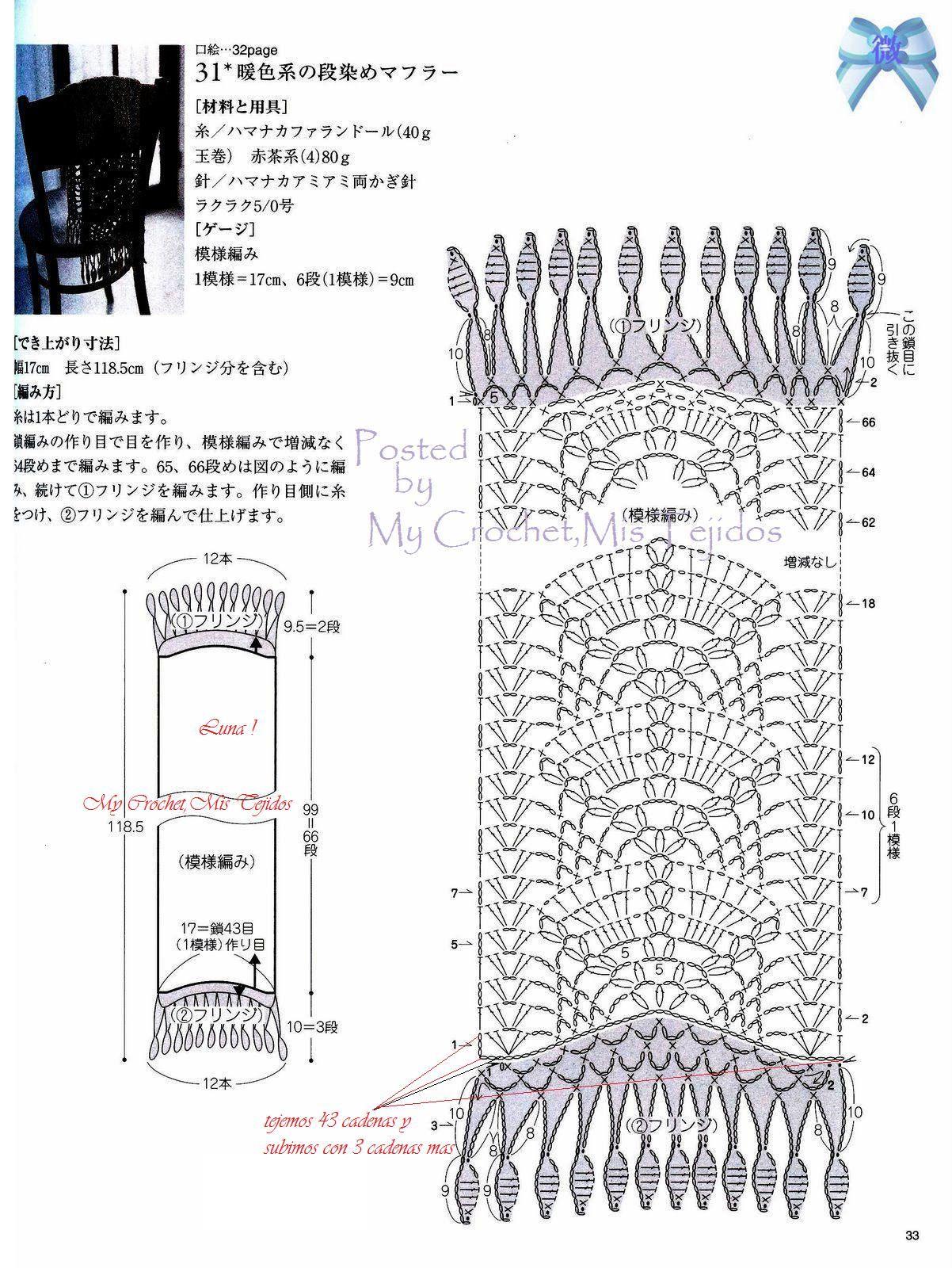 grafico para bontio cachecol | scarves | Pinterest | Crochet bufanda ...