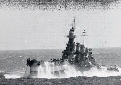 USS North Carolina in heavy seas.