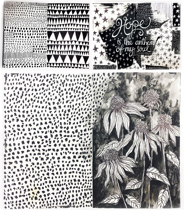 Alisaburke a peek inside my art journal black and white pages