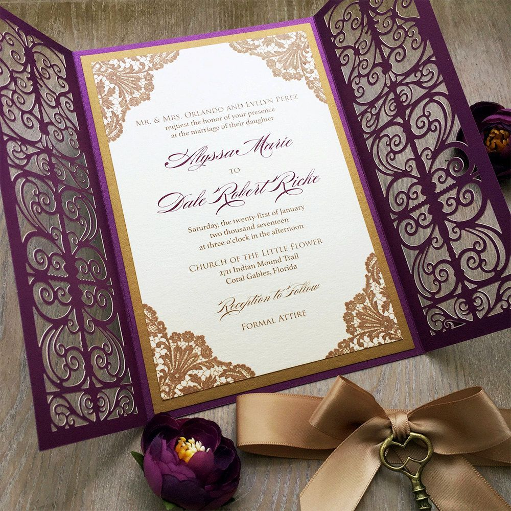 Alyssa Gold And Plum Laser Cut Wedding Invitation Purple Shimmer Gatefold Doors W Ribbon Bronze Key