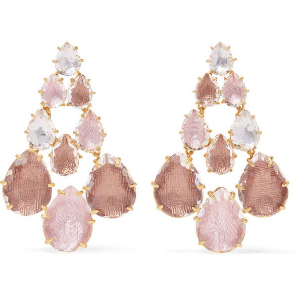 Larkspur & Hawk Catarina Chandelier gold-dipped quartz earrings (£1,125) ❤ liked on Polyvore featuring jewelry, earrings, gold, tear drop earrings, teardrop earrings, multicolor earrings, white quartz earrings and white chandelier earrings