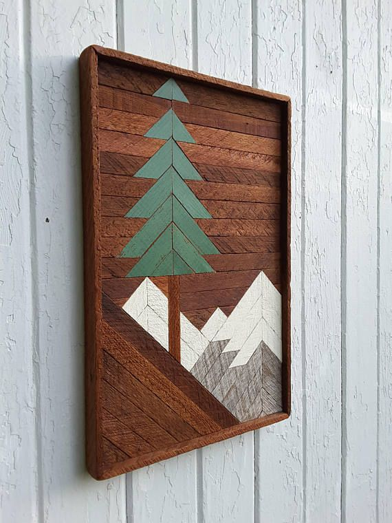 Reclaimed Wood Wall Art Mountain Pine Tree Scene Santa Fe Barn Wood Decor Mountain Wood Wall Art Lath Art