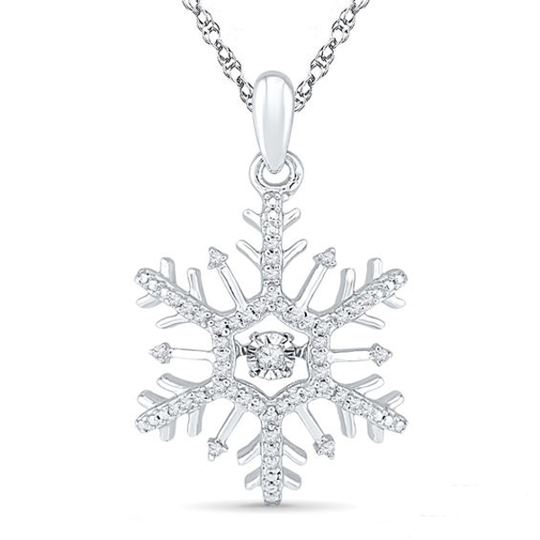 Unstoppable Love 1 6 Ct T W Diamond Snowflake Pendant In 10k White Gold Diamond Snowflake Jewelry White Gold