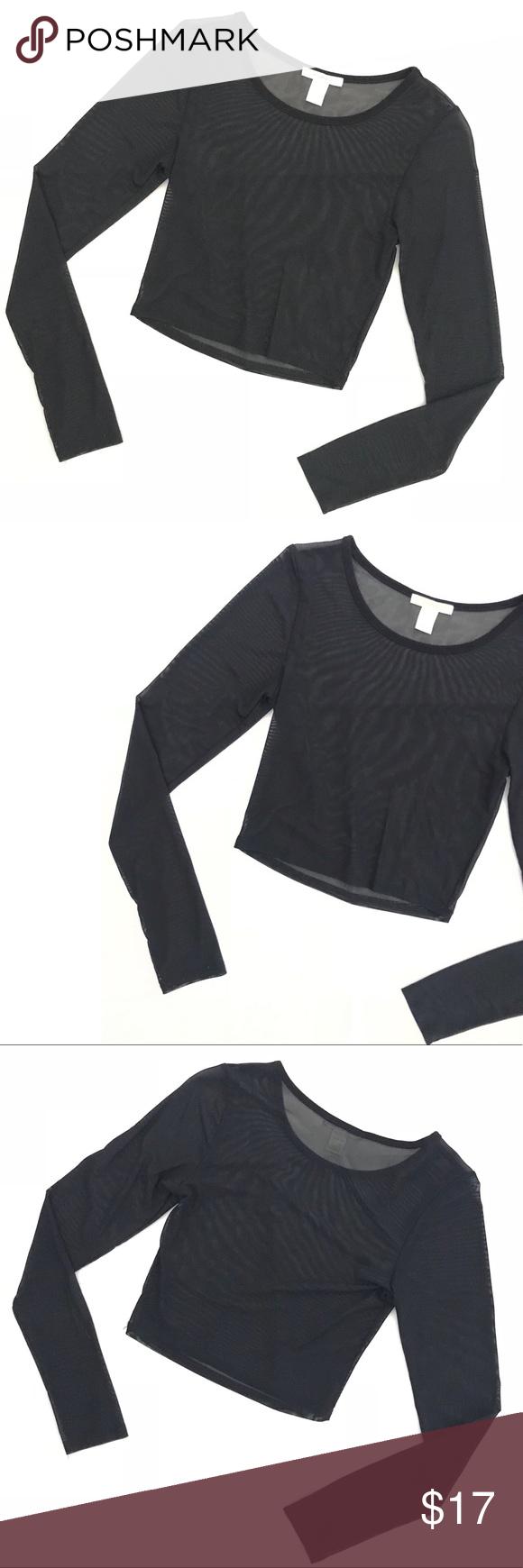 dd54a03acb112f Black Sheer Crop Top Long Sleeve Mesh Bozzolo - Black Sheer Crop Top Long  Sleeve Mesh