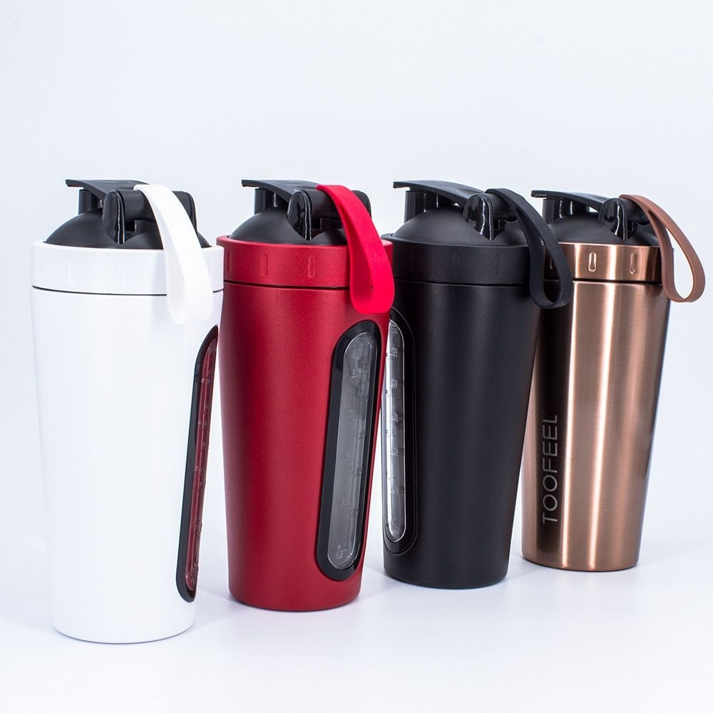 700ml Sport Water Bottle Stainless Steel Protein Shaker Outdoor Travel Drinkware