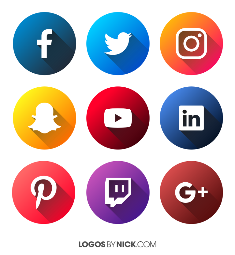 Flat Social Media Icons Ícones de mídia social, Icones