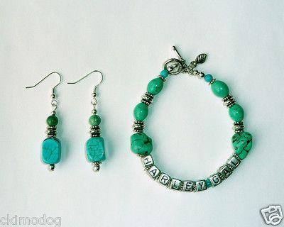 """Genuine Turquoise """"HarleyGal"""" Bracelet and Earrings  $13.99"""