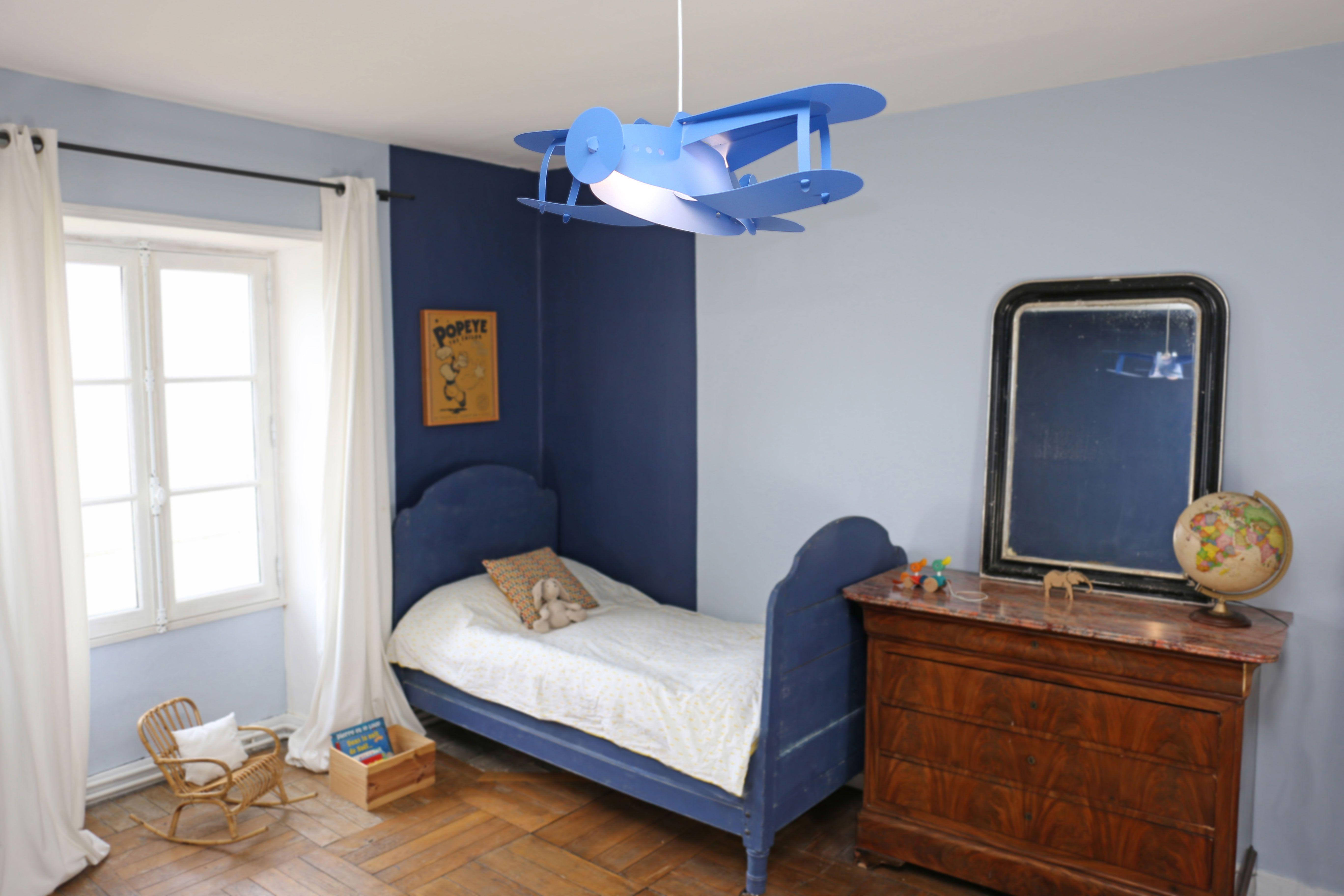 Lampe Suspension Enfant Avion Bleu Creation Francaise R M Coudert