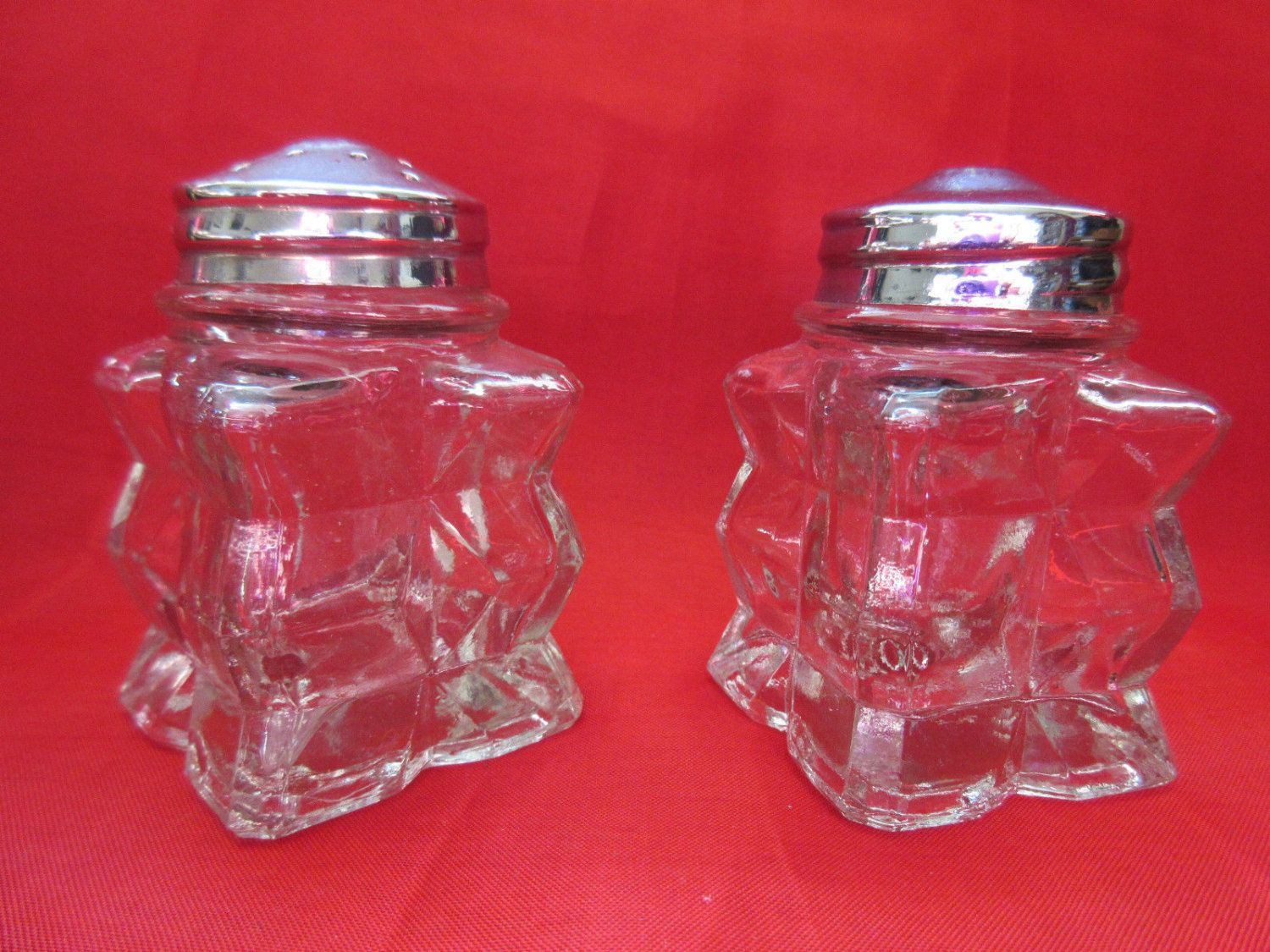 Vintage Glass Salt & Pepper Pots/Shakers by VintageRetroTreasues on Etsy