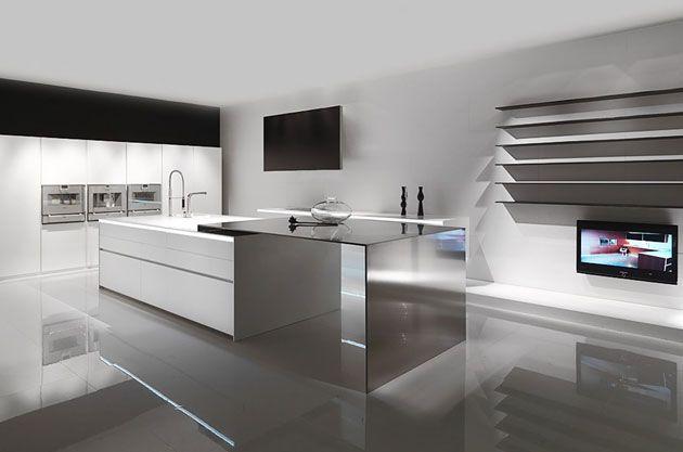Minimalismus In Der Küche Weiß Grau Einbaugeräte Hochglanz