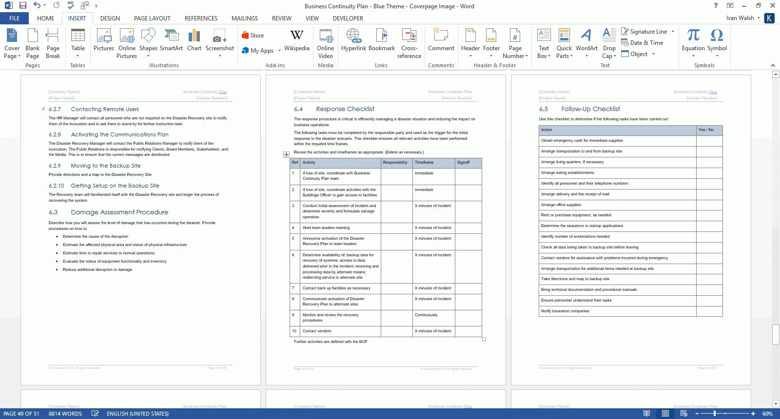 Business Continuity Plan Incident Checklist Excel Audit