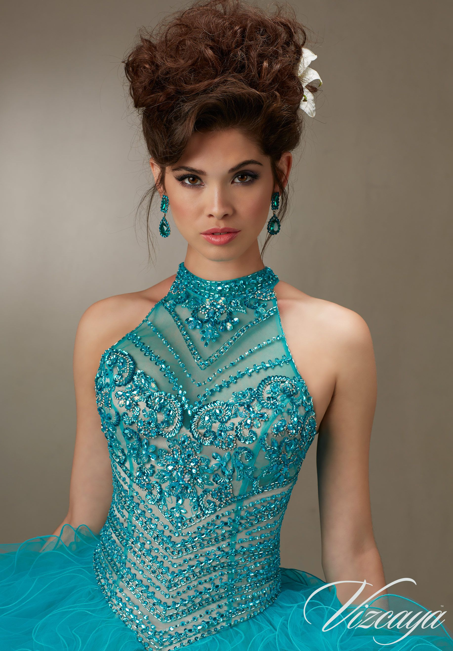 6216d8e8fa2 Jeweled Beading on a Ruffled Tulle Quinceañera Dress