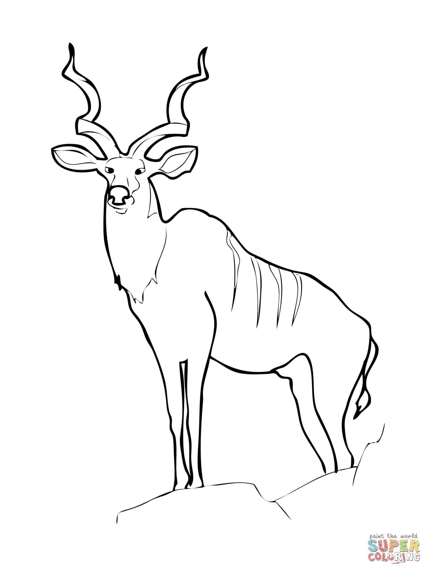 Kudu Antelope Coloring page Free Printable Coloring