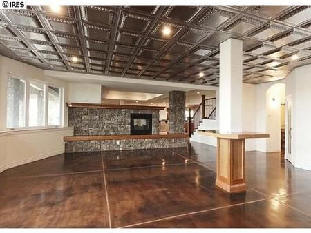Polished Concrete Floors Quot Tin Quot Tile Ceiling Suspended