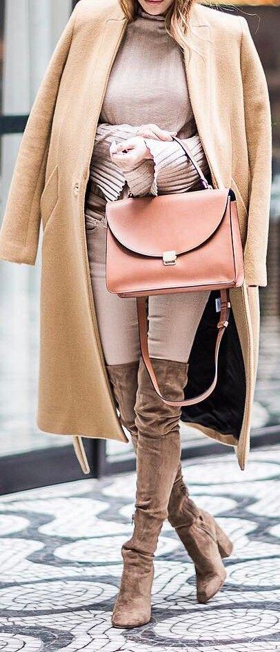 cute outfit coat + top + bag + heels