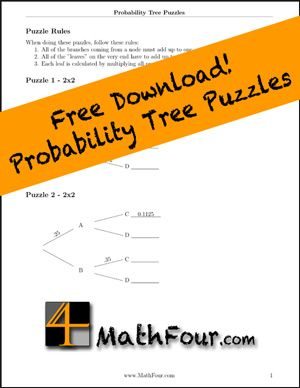 Probability tree diagrams as puzzles diagram math and statistics can you solve these probability tree diagram puzzles mathfour ccuart Choice Image