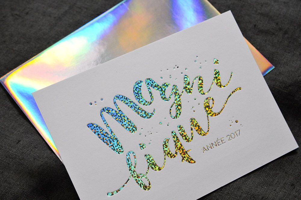 Carte De Voeux En Marquage A Chaud En Hologramme Paillete