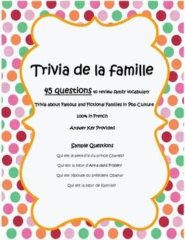 Trivia de la famille - Family Questions worksheet in French | FSL
