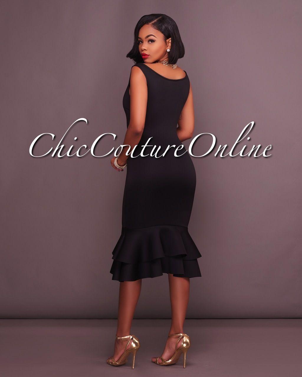 Chic Couture Online - Layla Black Mermaid Shape Ruffle Midi Dress,  (http://www.chiccoutureonline.com/layla-black-mermaid-shape-ruffle-midi-dress/)