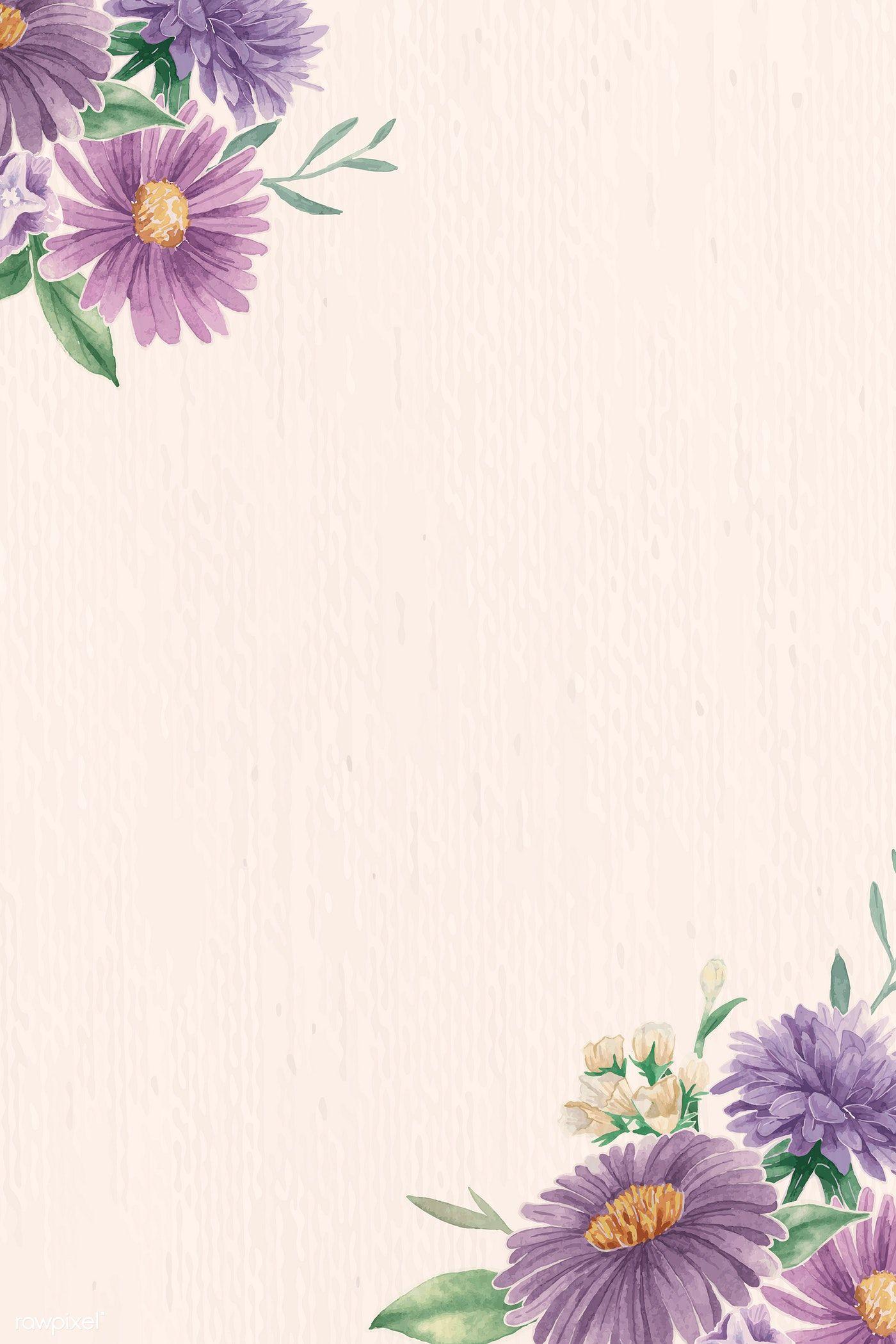 Download Premium Vector Of Purple Flowers Pattern On Beige Background Purple Flowers Wallpaper Purple Flower Background Flower Background Wallpaper