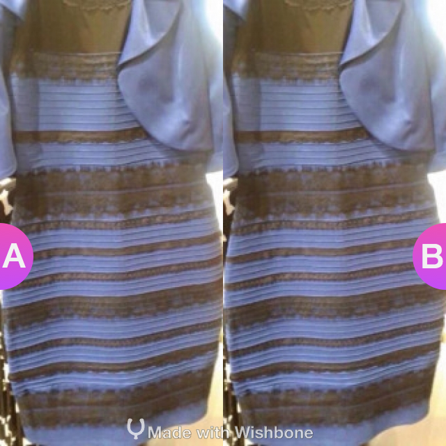 The dress images black and blue or white and gold