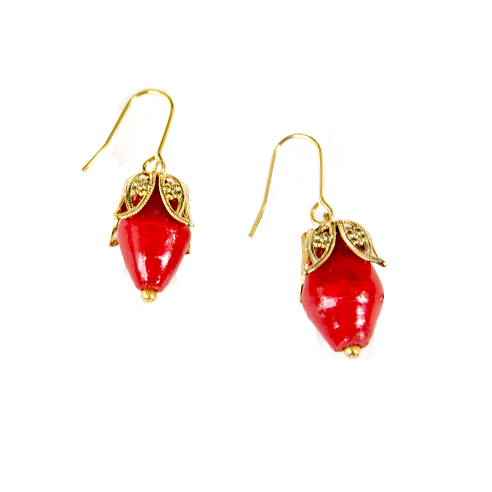 Fair trade earrings featuring Ugandan paper beads in