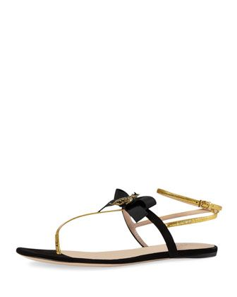 f438d359a237a Moody Bow Thong Sandal Nero/Oro in 2019 | Style | Shoes, Sandals ...