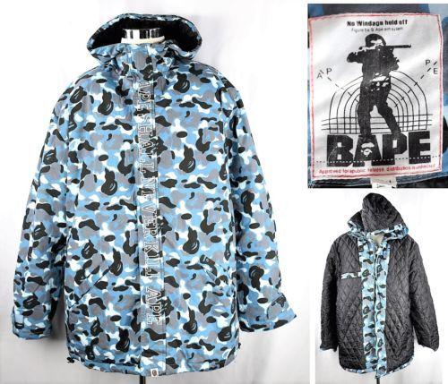1781d16024a37 VERY-RARE-A-BATHING-APE-BAPE-NO-WINDAGE-Blue-Camo-Hoodie-Snowboard-Jacket -3XL
