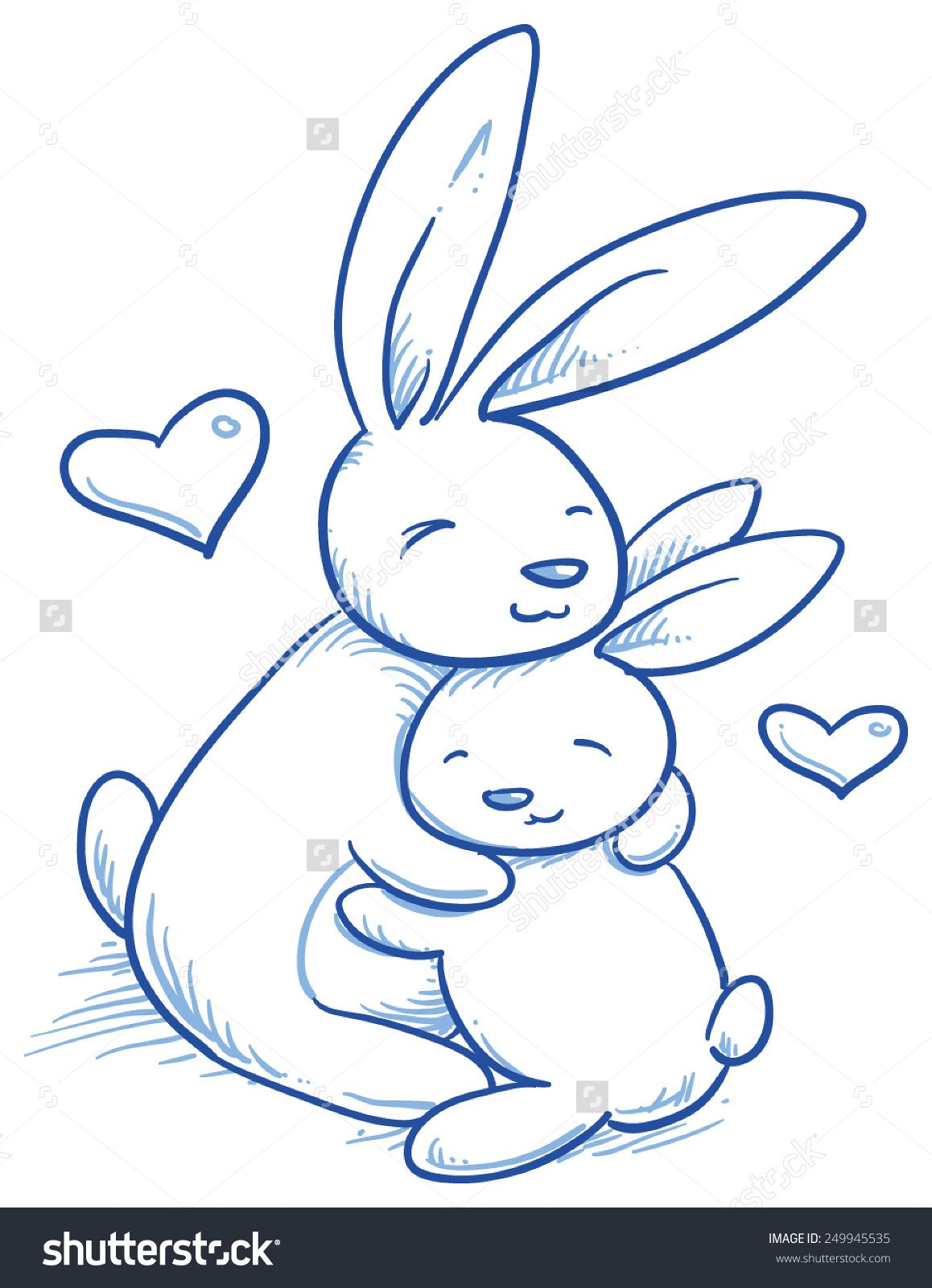 Cute Baby Bunny And Adult Cuddling, Hugging, Happy, For Easter Or ...