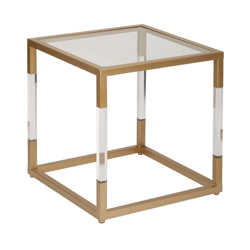 Modern Reflections Metal Glass And Acrylic End Table Square