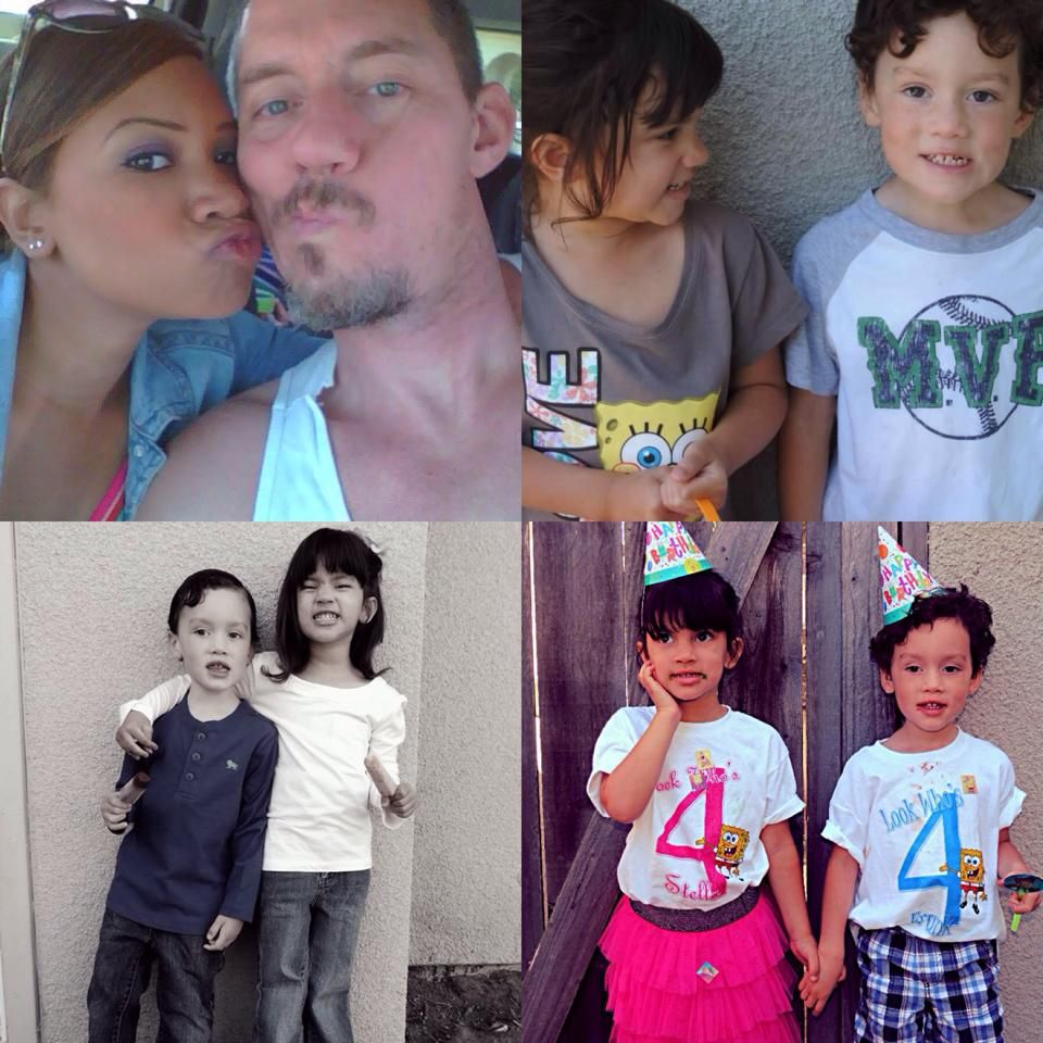 Courtney shares: My hubby and Frank and I who are bhave been together for almost 7 years and married for almost 5 years. Our twins Stella and Frank who just turned 4!  6/21/14