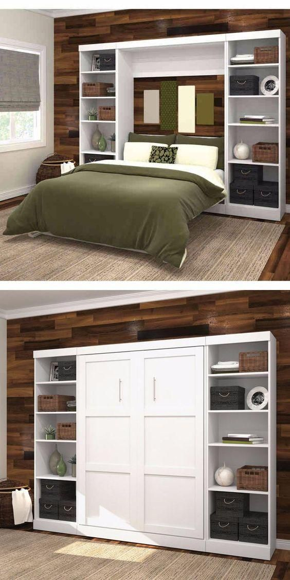 Boutique Full Wall Bed With Two Storage Units In White Beds For