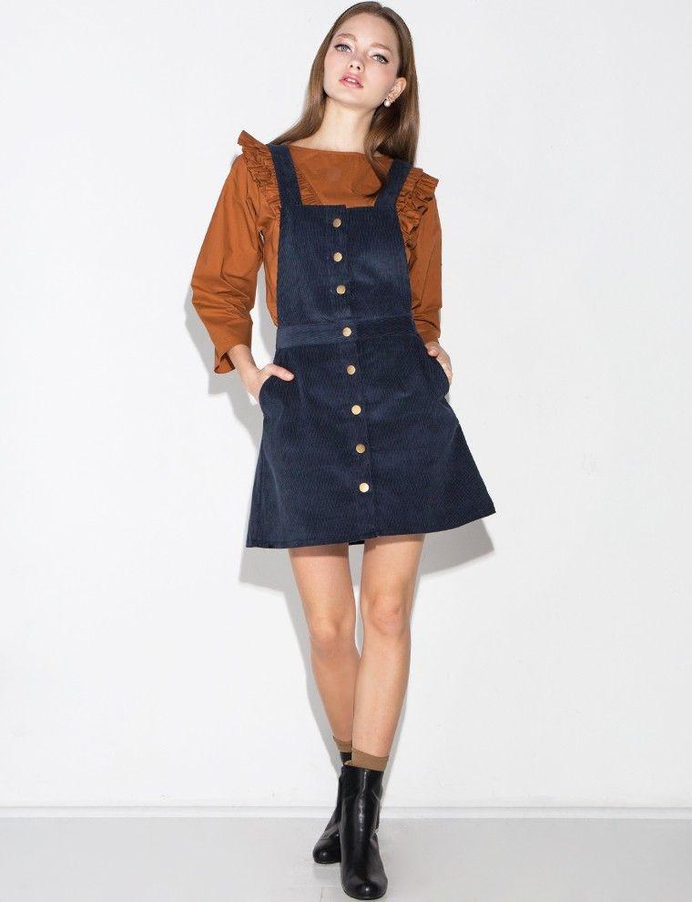 965013fb1c Blue Corduroy Overall Dress - Corduroy Suspender Dress