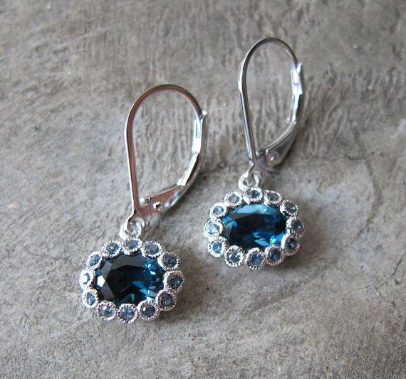 Blue Topaz Dangle Earrings Blue Sapphire Earrings by Belesas, $209.00