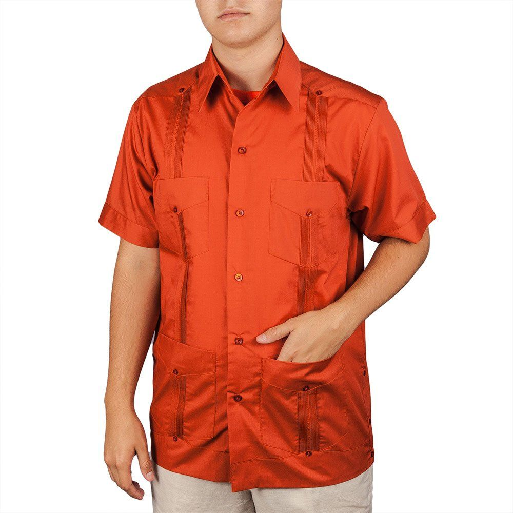 Men's Cotton blend guayabera short sleeve, size: Small, color: Rust.