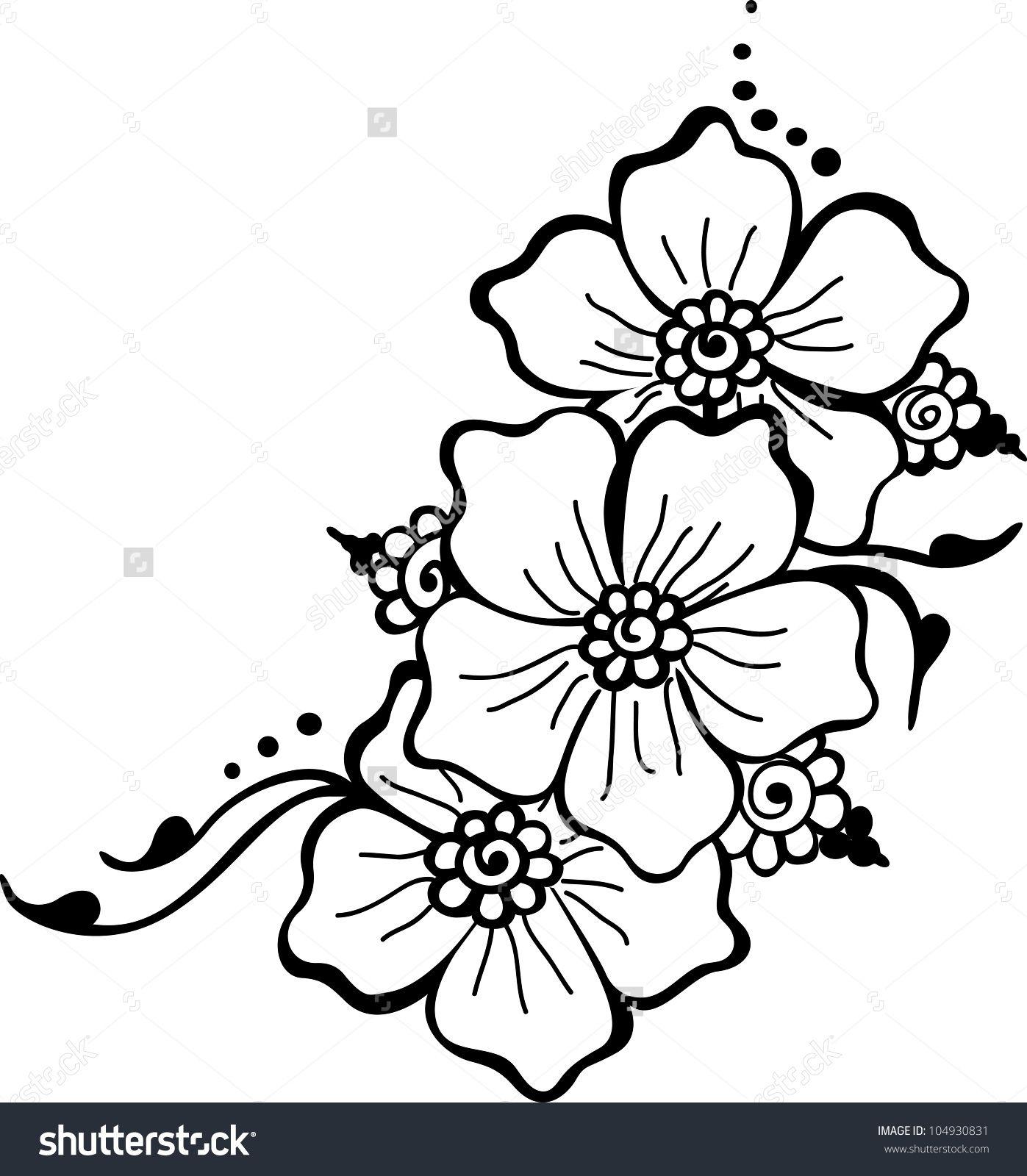 Black Flower Vector Stock Vector (Royalty Free) 104930831