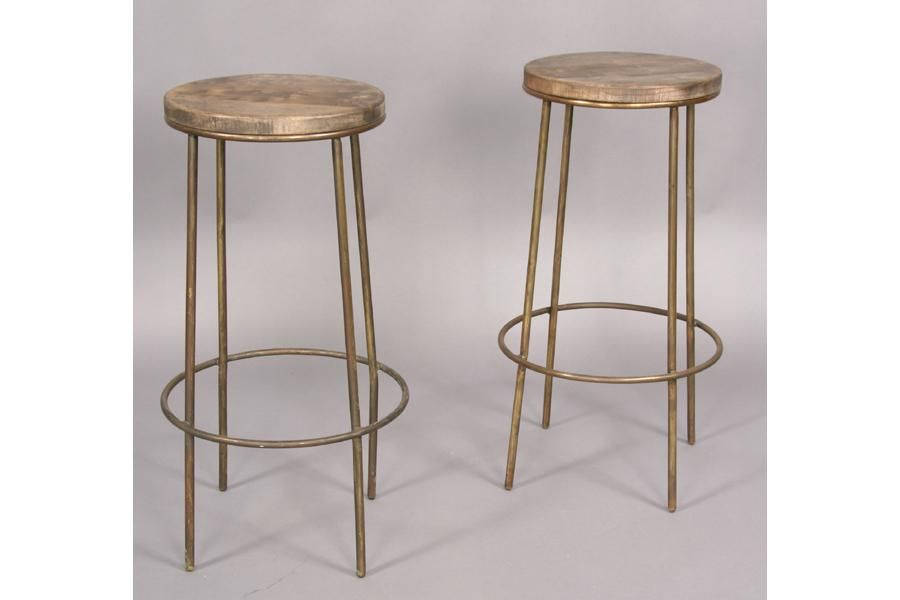 Pair Industrial Bar Stools Wood Seats Brass Base Industrial Bar
