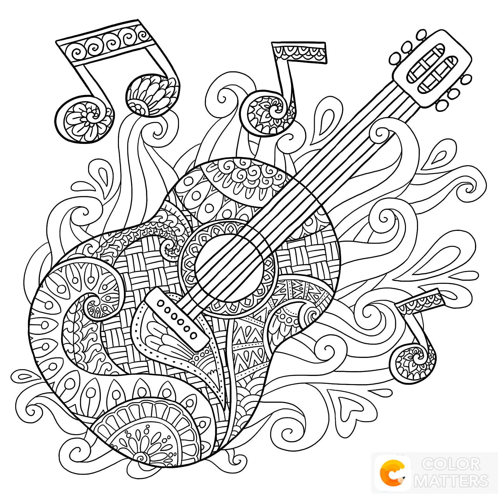 Guitar Coloring Page Music Coloring Sheets Music Coloring Colouring Pages