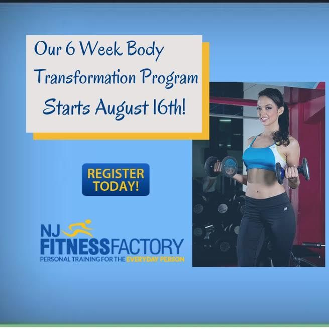 Start the Fall with a new improved YOU!  Our 6 Week Body Transformation Program starts August 16th! Group training (Bloomfield) or 1-on-1 personal training (Bloomfield & Montclair) - you pick.  This fills quickly so sign up now! Click for more details: http://bit.ly/njpromos