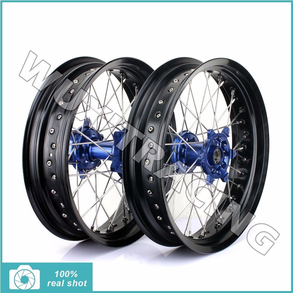 Front Rear Complete Black Wheel Rim Cnc Blue Hub For Yamaha Yz F Yzf 250 450 Yz250f Yz450f 14 15 17 X3 5 17 X4 25 36 Spok Supermoto Wheels Supermoto Black Rims