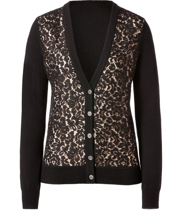 Cashmere/Lace Cardigan in Black/Nude