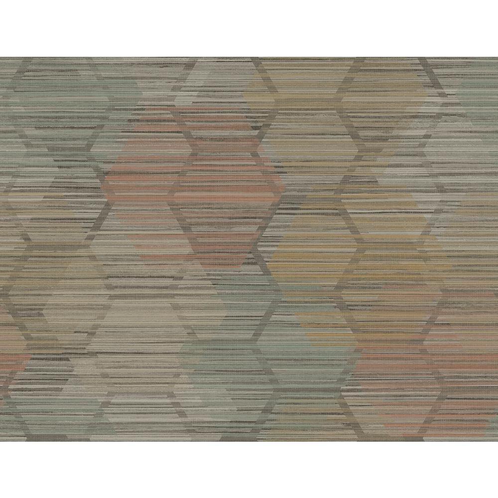 AStreet Jabari Brown Geometric Faux Grasscloth Wallpaper