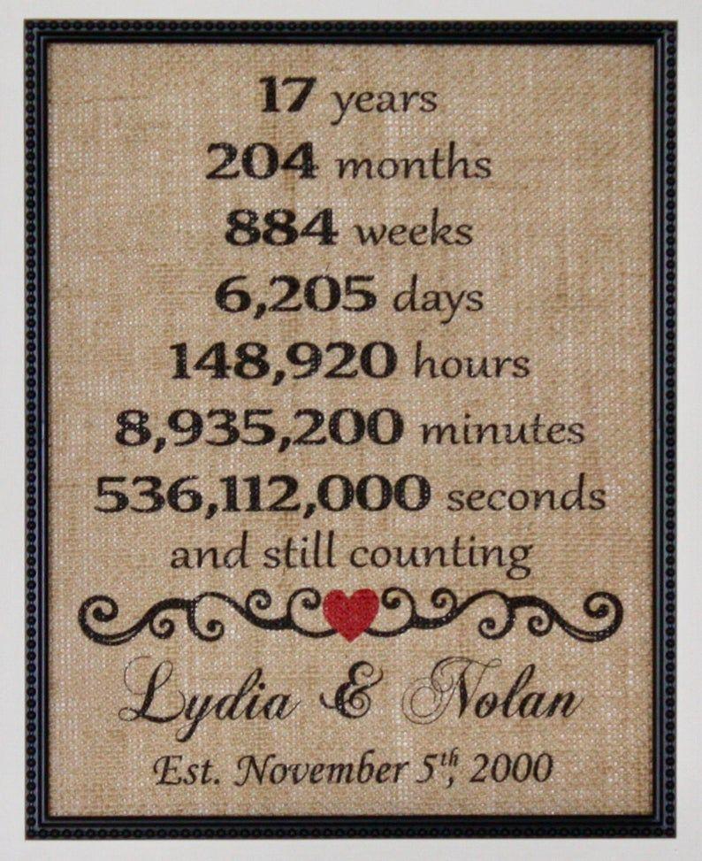 Seventeenth Anniversary Burlap, Seventeenth Year Married