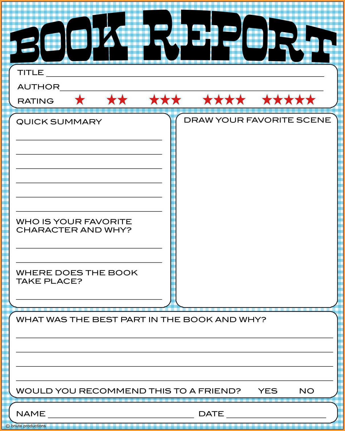 14 Book Report Template 5th Grade