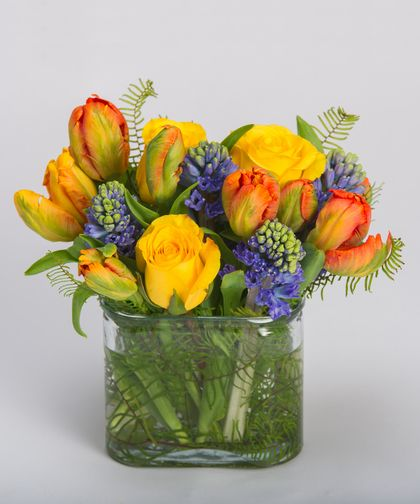 Winter Warmth A burst of warmth, this arrangement of oranges, yellows, and blues - including roses, tulips and hyacinth - is designed a unique glass oval container.