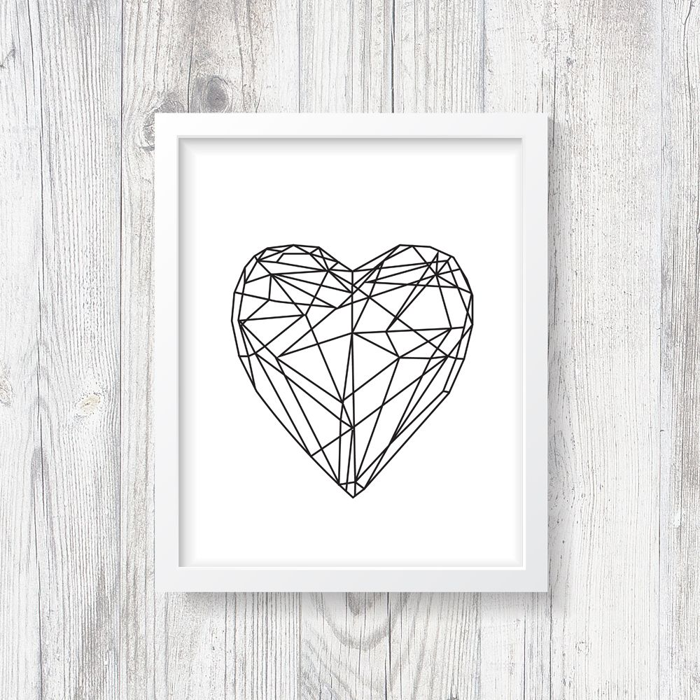 Geometric Heart Print, Abstract, Gallery Heart Poster, Modern ...