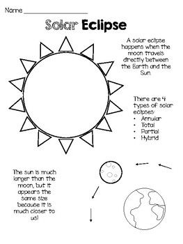 Free Solar Eclipse Craft And Coloring Sheet Solar Eclipse Solar Free Solar