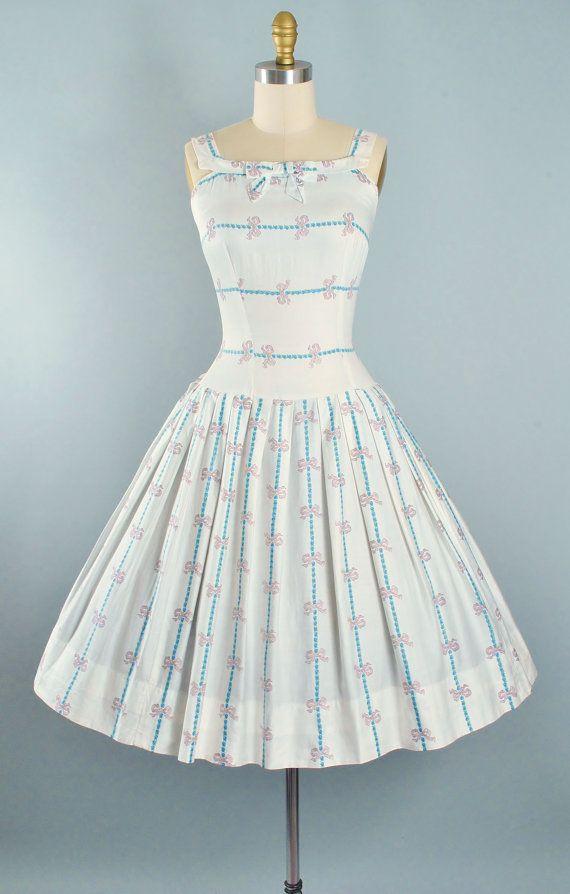 Vintage Dress   50s Dress  60s Dress  Betty Barclay Dress   Summer Dress  White Printed Dress  Size Extra Small