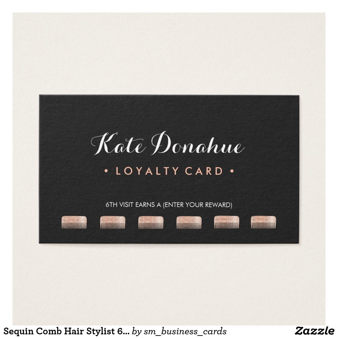 Sequin Comb Hair Stylist 6 Punch Customer Loyalty Business Card ...
